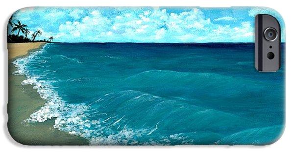 Beach Landscape Drawings iPhone Cases - Punta Cana Beach iPhone Case by Anastasiya Malakhova