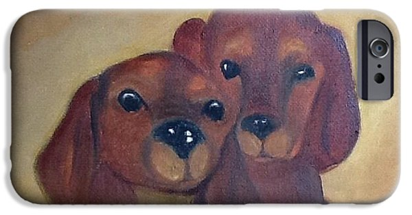 Cute Puppy iPhone Cases - Puppies iPhone Case by Cheryl Herndon