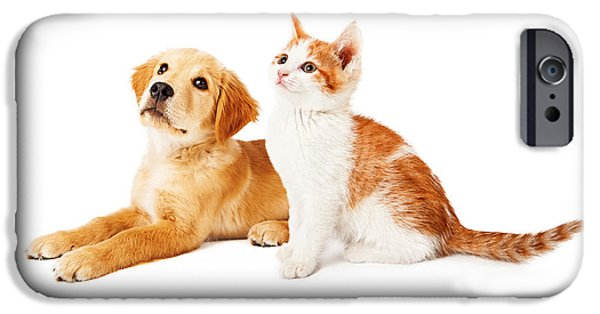 Little iPhone Cases - Puppy and Kitten Looking to Side iPhone Case by Susan  Schmitz