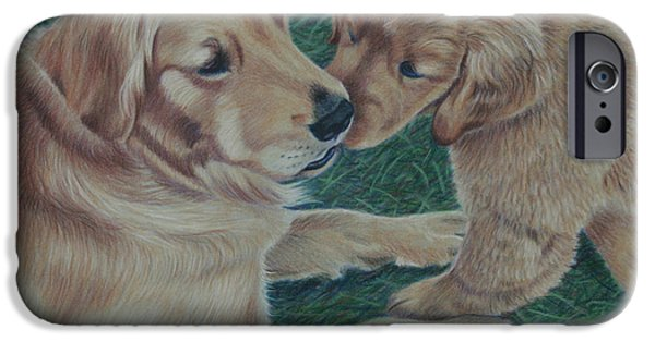 Puppies Drawings iPhone Cases - Puppy Kisses iPhone Case by Debbie Stonebraker