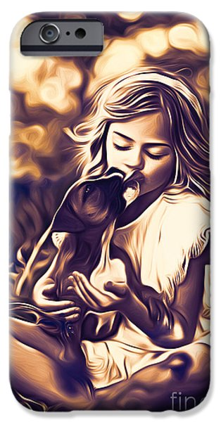 Puppies Digital Art iPhone Cases - Puppy Love iPhone Case by Larry Espinoza