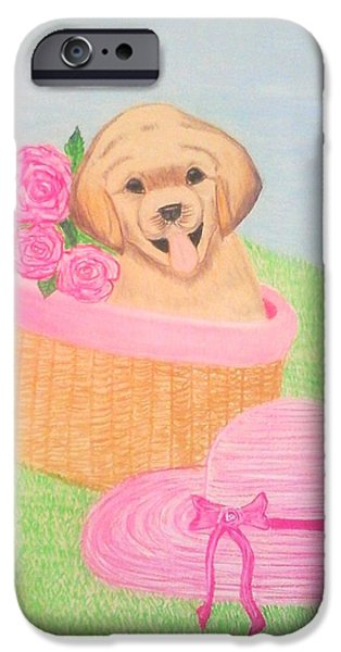 Puppy Pastels iPhone Cases - Puppy Love iPhone Case by Shikha Narula