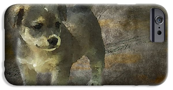 Puppy Digital Art iPhone Cases - Puppy iPhone Case by Svetlana Sewell