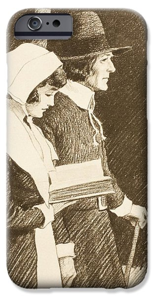 Religious Drawings iPhone Cases - Puritan Couple On Way To Church In 16th iPhone Case by Ken Welsh