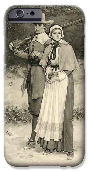 Religious Drawings iPhone Cases - Puritan Couple On Way To Sunday iPhone Case by Ken Welsh