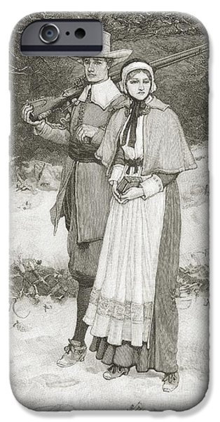 Religious Drawings iPhone Cases - Puritans Going To Church. From The Book iPhone Case by Ken Welsh