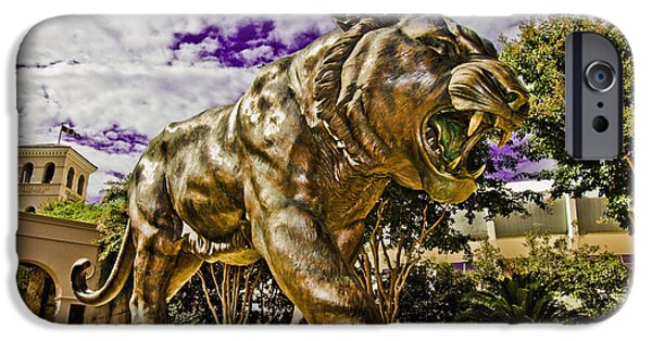 Mike The Tiger iPhone Cases - Purple and Gold iPhone Case by Scott Pellegrin