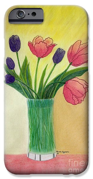 Appleton Art iPhone Cases - Purple and Pink Tulips iPhone Case by Norma Appleton