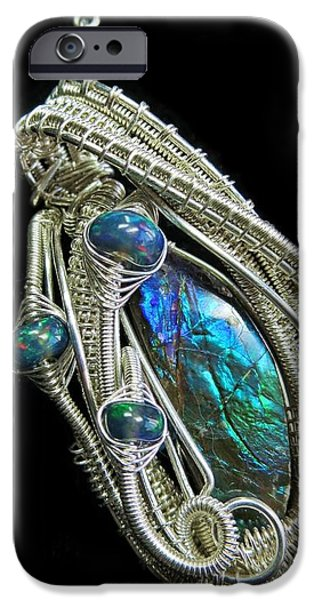 Jordan Jewelry iPhone Cases - Purple Blue and Green Ammolite Wire-Wrapped Pendant in Sterling Silver with Ethiopian Opals AMLTPSS3 iPhone Case by Heather Jordan