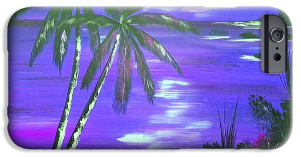 Modernart iPhone Cases - Purple Coconut Sunset iPhone Case by Collin A Clarke