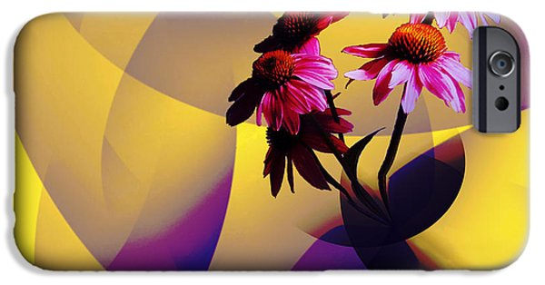 Abstracted Coneflowers iPhone Cases - Purple Coneflowers iPhone Case by Patricia Motley