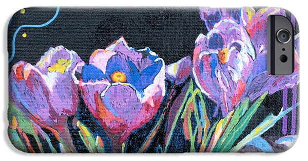 Red Rock iPhone Cases - Purple Crocuses iPhone Case by Carole Weis