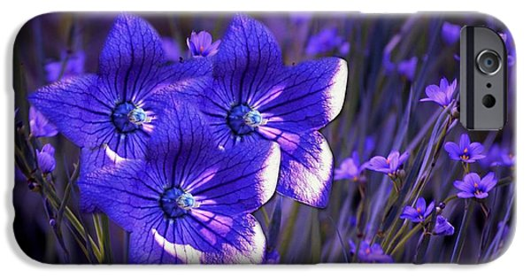 Balloon Flower iPhone Cases - Purple Florwer Abstract iPhone Case by Marjorie Imbeau