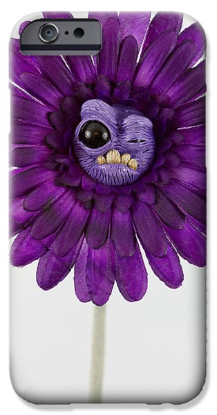 Petals Sculptures iPhone Cases - Purple Flower odd iPhone Case by Voodoo Delicious