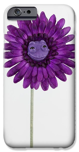 Petals Sculptures iPhone Cases - Purple happy flower iPhone Case by Michael Palmer