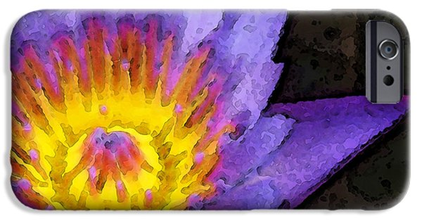 Beauty Mixed Media iPhone Cases - Purple Lotus Flower - Zen Art Painting iPhone Case by Sharon Cummings