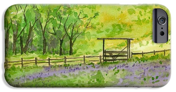 Field. Cloud Drawings iPhone Cases - Purple Lupines Pasture iPhone Case by Cathie Richardson