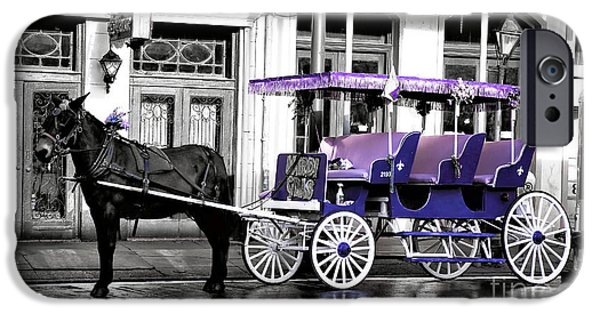 Horse And Buggy iPhone Cases - Purple Mardi Gras Carriage Fusion iPhone Case by John Rizzuto