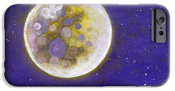 Outer Space Paintings iPhone Cases - Purple Moon iPhone Case by Robert Price