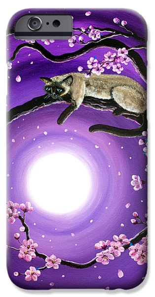 Cherry Blossoms iPhone Cases - Purple Moonlight Sakura iPhone Case by Laura Iverson