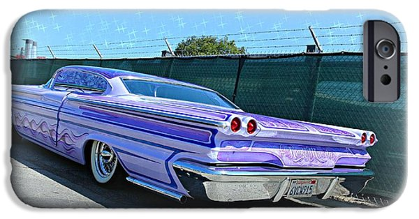 Old Cars iPhone Cases - Purple Pontiac Perfection iPhone Case by Steve Natale
