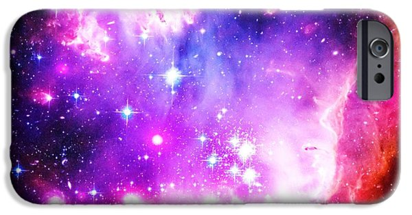 Constellations iPhone Cases - Purple Space iPhone Case by Johari Smith