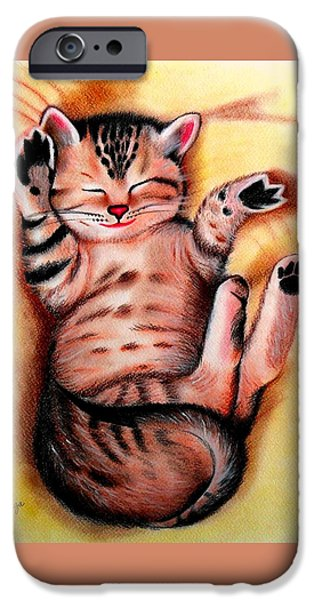 Beautiful Cat Drawings iPhone Cases - Purrfect Catnap iPhone Case by Monica  Vega