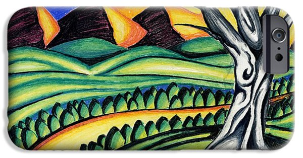 Tree Roots Pastels iPhone Cases - Pyramids iPhone Case by Catilin Ott