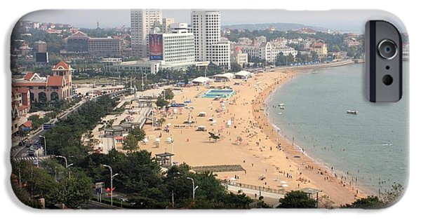 China Beach iPhone Cases - Qingdao Beach with Skyline iPhone Case by Carol Groenen