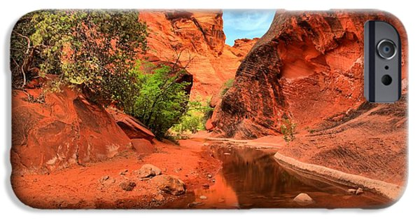 Red Cliffs iPhone Cases - Quail Creek Reflections iPhone Case by Adam Jewell