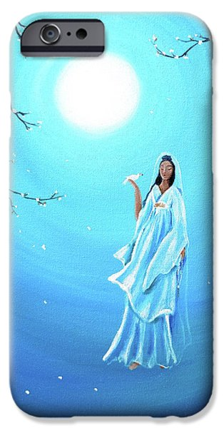 Buddhist Paintings iPhone Cases - Quan Yin in Teal Moonlight iPhone Case by Laura Iverson