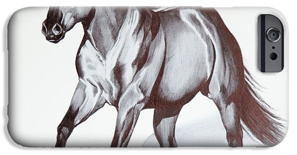 Drawing Of A Horse iPhone Cases - Quarter Horse at Lope iPhone Case by Cheryl Poland