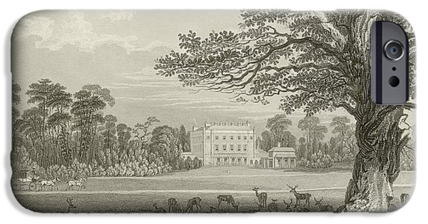 Stately iPhone Cases - Queen Adelaides Lodge  iPhone Case by Thomas Allom
