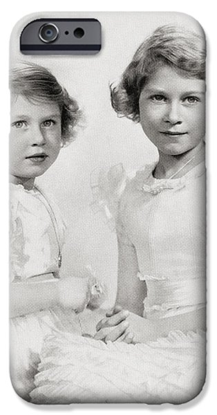 Little Girl iPhone Cases - Queen Elizabeth Ii, Right, As A iPhone Case by Ken Welsh