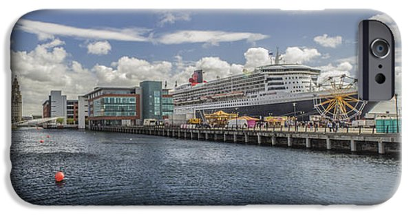 Queen Elizabeth iPhone Cases - Queen Mary 2 Panorama iPhone Case by Paul Madden