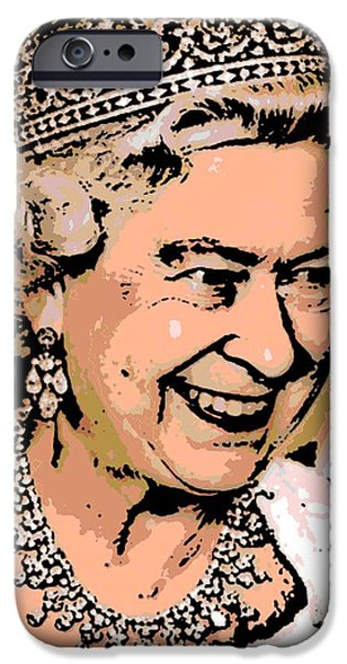 Jubilee Digital iPhone Cases - Queen of Diamonds iPhone Case by George Pedro