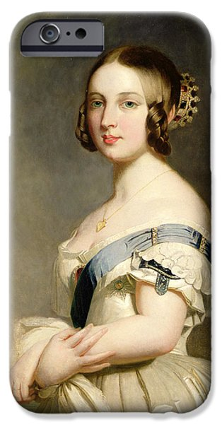 Young Paintings iPhone Cases - Queen Victoria iPhone Case by Franz Xavier Winterhalter