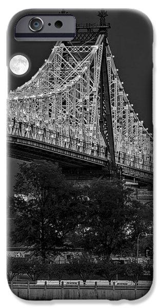 Moonscape iPhone Cases - Queensboro 59 Street Bridge Full Moon BW iPhone Case by Susan Candelario