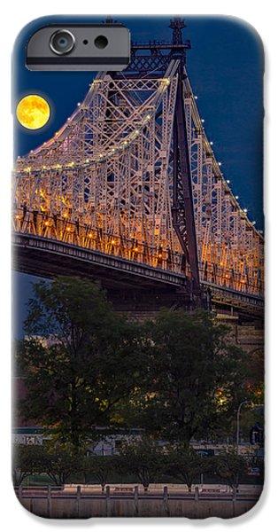Moonscape iPhone Cases - Queensboro 59 Street Bridge Full Moon iPhone Case by Susan Candelario