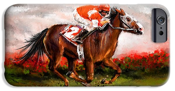 Race Horse iPhone Cases - Quest For The Win - Horse Racing Art iPhone Case by Lourry Legarde