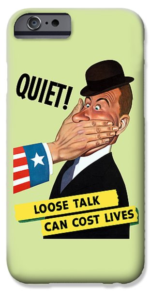 Lips Mixed Media iPhone Cases - Quiet - Loose Talk Can Cost Lives  iPhone Case by War Is Hell Store