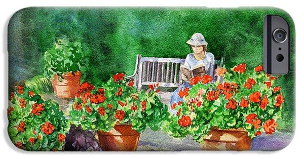 Red Geraniums iPhone Cases - Quiet Moment Reading In The Garden iPhone Case by Irina Sztukowski