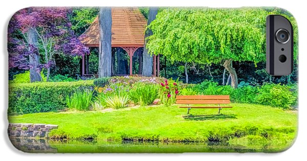 Willow Lake iPhone Cases - Quiet reflections Shelby Townships Heritage Garden iPhone Case by LeeAnn McLaneGoetz McLaneGoetzStudioLLCcom