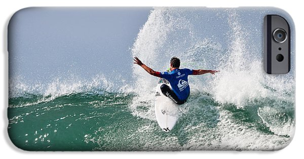 Surfer Magazine iPhone Cases - Quiksilver Pro France III iPhone Case by Thierry Bouriat