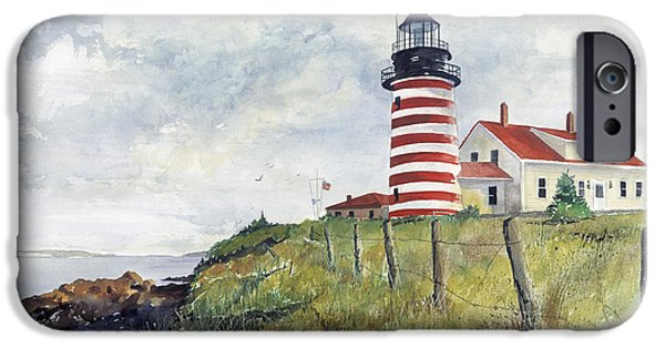 Stripes iPhone Cases - Quoddy Lighthouse iPhone Case by Richard Jansen
