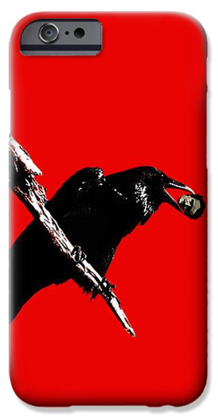 Quoth The Raven Nevermore . Red iPhone Case by Wingsdomain Art and Photography