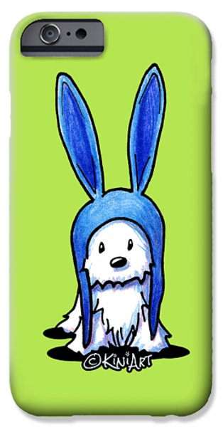 Kim Drawings iPhone Cases - Rabbit Ears Westie iPhone Case by Kim Niles
