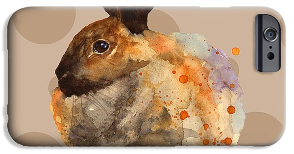 Rabbit iPhone Cases - Rabbit Painting iPhone Case by Alison Fennell