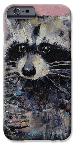 Raccoon iPhone Cases - Raccoon iPhone Case by Michael Creese