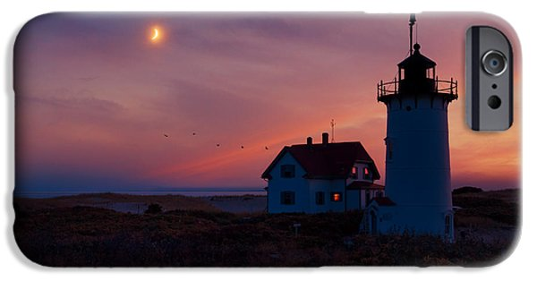 New England Lighthouse iPhone Cases - Race Point Lighthouse Standing Guard iPhone Case by Bill Wakeley